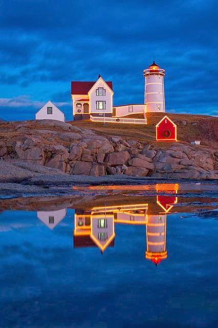 Holiday lights at Nubble Lighthouse on Cape Neddick, Maine