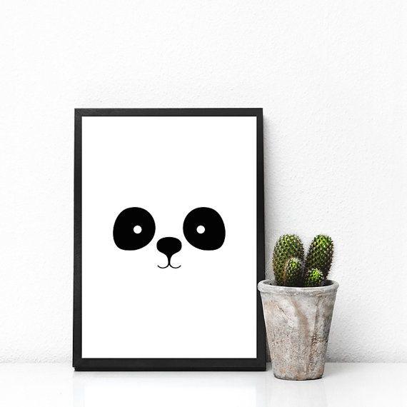 Panda, Minimalist Print, Nursery, Graphic Art, Print Design, Wall Decor, Printable Gift, Typography Print, Black and White Poster, B&W