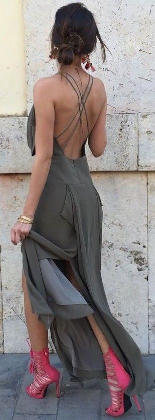 #summer #high #casual #outfits | Grey Maxi Dress + Fuchsia Lace Up Heels