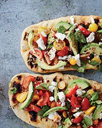 Avocado, Feta and Cherry Tomato Salsa Flatbreads AB: Very tasty.  Super easy to prepare.  Was just messy to eat. @foodandwine