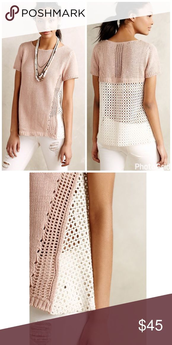 Anthropologie Madeira Eyelet Back Pullover Excellent condition, barely worn!  Beautiful short sleeve sweater is perfect for the summer and milder temperatures.  Can we worn with a cami underneath or nude colored bra.  Cotton knitting and polyamide lace trim.  By: MOTH. Anthropologie Tops Tees - Short Sleeve