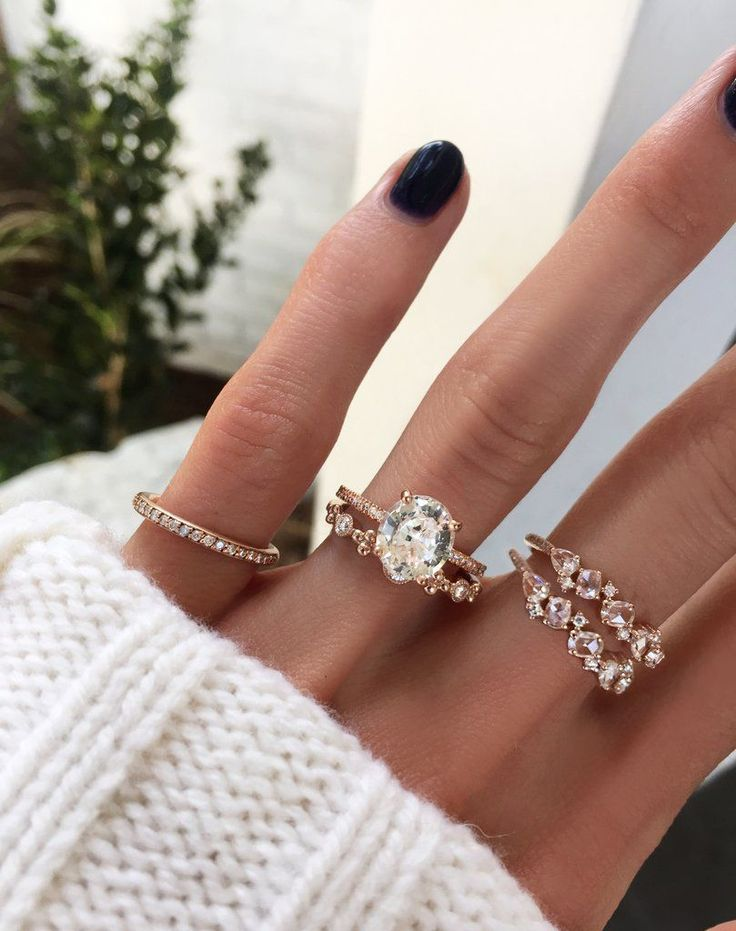 14kt gold and diamond solitaire round white sapphire eternity ring – Luna Skye #diamondsolitairering