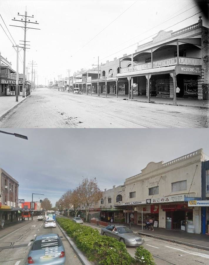 Great North Road, Five Dock circa 1920 and 2014. [circa 1920 - State Library of NSW>2014 - Google Street View. By Phil Harvey]