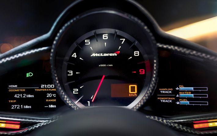 Download wallpapers McLaren, 4k, dashboard, indicators, tachometer