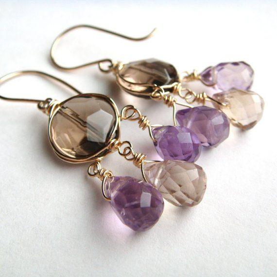 Pendientes de araña de oro, pendientes de piedras preciosas con aubepine Ametrine y cuarzo ahumado, púrpura marrón piedra bohemio joyas,