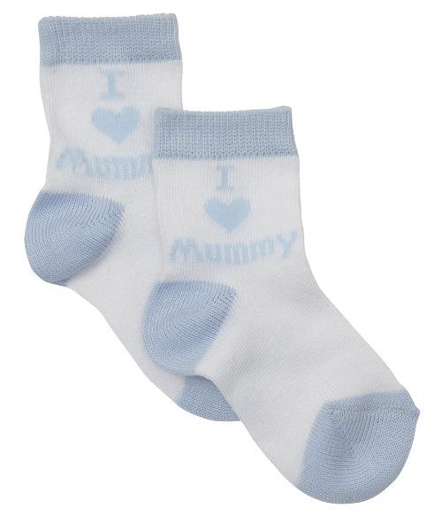 I Love Mummy Socks Blue