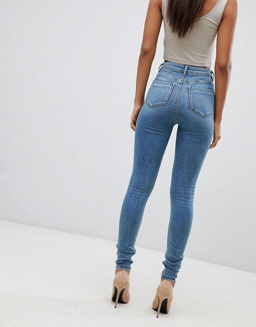 cf4ed4d6d9246 ASOS Tall   ASOS DESIGN Tall Ridley high waist skinny jeans in pretty mid  stonewash blue