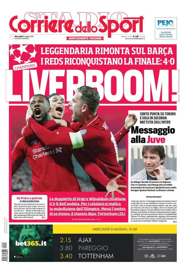 Edicola Prima Pagina Corriere dello Sport Sport, Messaggi
