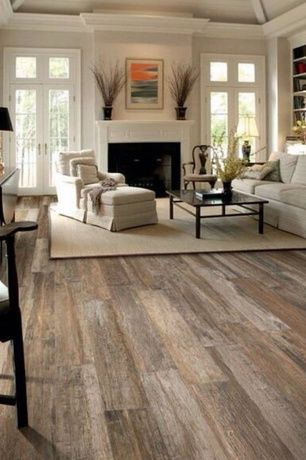 Traditional Living Room with Built-in bookshelf, Carpet, High ceiling, metal fireplace, Hardwood floors