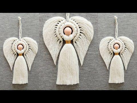 Macrame Design, Macrame Art, Macrame Projects, Macrame Knots, Angel Crafts, Yarn Crafts, Sewing Crafts, Christmas Crafts, Macrame Wall Hanging Patterns