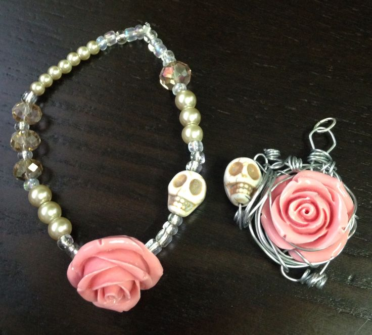 Skulls and pink roses