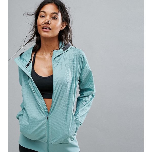 adidas Pure Running Jacket (118 CAD) ❤ liked on Polyvore featuring activewear, activewear jackets, green, adidas sportswear, adidas activewear, retro sportswear, retro jerseys and adidas jersey