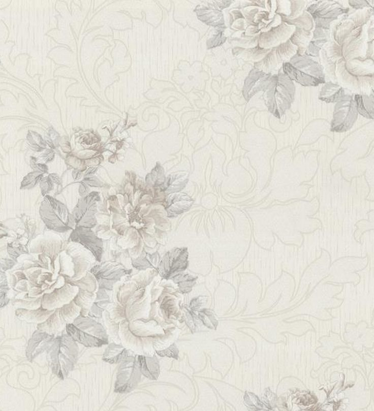 papel pintado flores romnticas con volutas estilo vintage