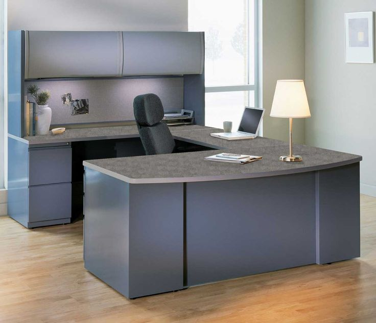 25 Cool Modular Home Office Furniture Designs: Simple White Table Lamp Paired With Grey Office Furniture