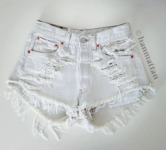 """ALL SIZES """"ICE"""" Vintage Levi high-waisted denim shorts white distressed frayed jeans on Etsy, $26.00"""