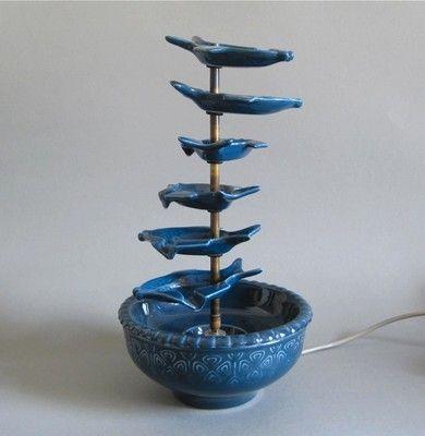 Cortendorf Zimmerbrunnen 50er Design Keramik Nierentisch Tütenlampe Zeit 1950s | eBay