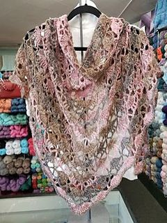 Description: This circular shawl is made with a basic two-row repeat. As a bonus, this pattern is written row by row, and as a diagram.