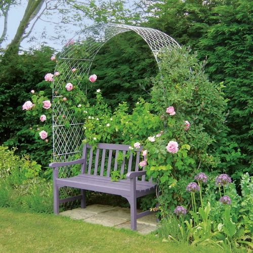 A rose arch that won't rust! English metal wirework garden arch, long-lasting and weatherproof, handcrafted in zinc galvanised steel by Garden Requisites, Bath, England> http://www.garden-requisites.co.uk/products/arches/