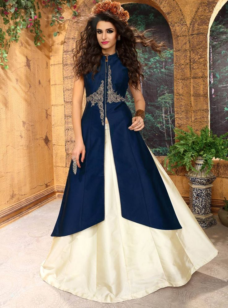 Navy Blue Taffeta Silk Jacket Style Lehenga Choli 85317