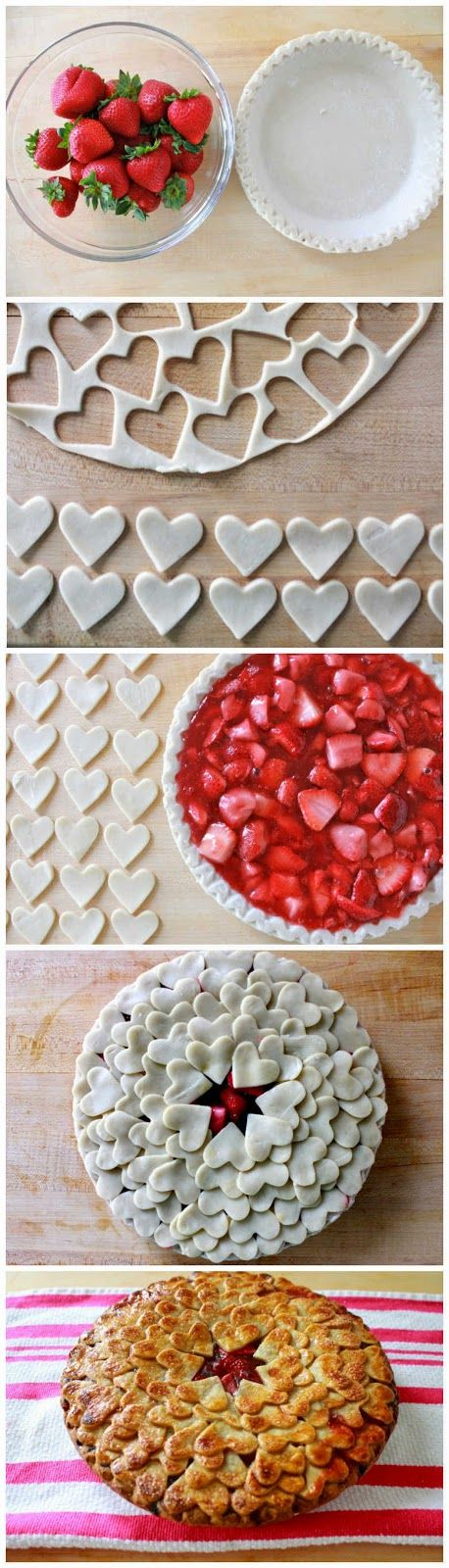 This strawberry pie is so creative, with so many hearts on it :) It's a great dessert idea for Valentine's Day, Mother's Day and Father's Da...