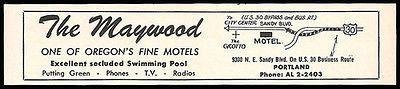 Maywood Motel Ad Portland Oregon AC Pool TV 1964 Roadside Map Ad Travel