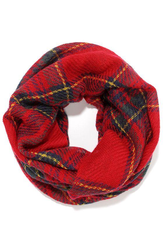 Pardon My Scotch Red Plaid Infinity Scarf at Lulus.com!