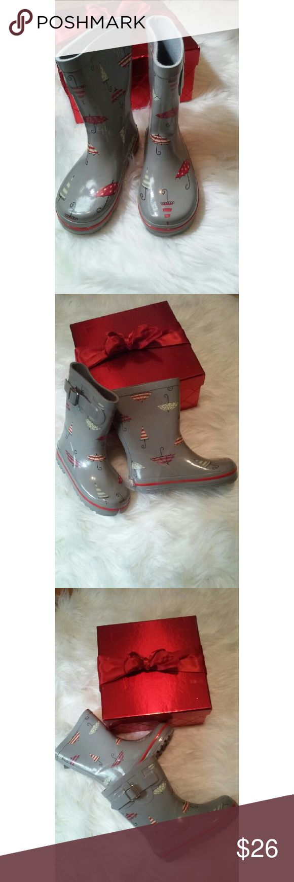 Super Cute Girls water boots -Cute umbrella designs on exterior -Faux buckle -polka dots and stripes -red, white, Gray Elle Shoes Rain & Snow Boots