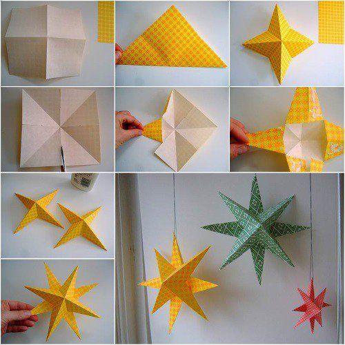 Un estupendo tutorial en imágenes para que puedas hacer en casa estrellas de papel en origami para decorar el techo realmente preciosas