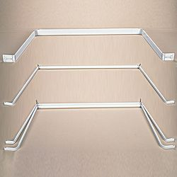 """Kirsch Bay Lockseam Single Window Rod.  Center adjusts from 36"""" to 63"""", Sides adjusts from 18"""" to 42"""" (each side). Two support included with all required hardware.  To extend your center beyond 63"""" select the 29"""" Extender. Each one will extend out an additional 24"""" and includes one supporting bracket."""