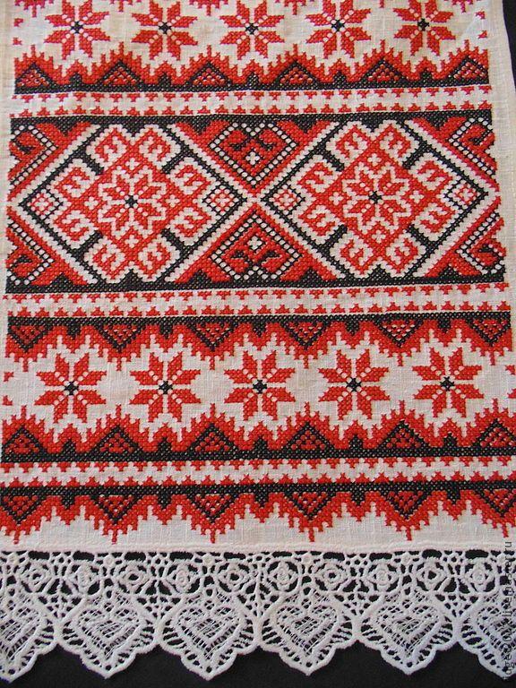 Купить Рушник красно-черный - белый, красно-черный, рушник, вышитый рушник, русский сувенир