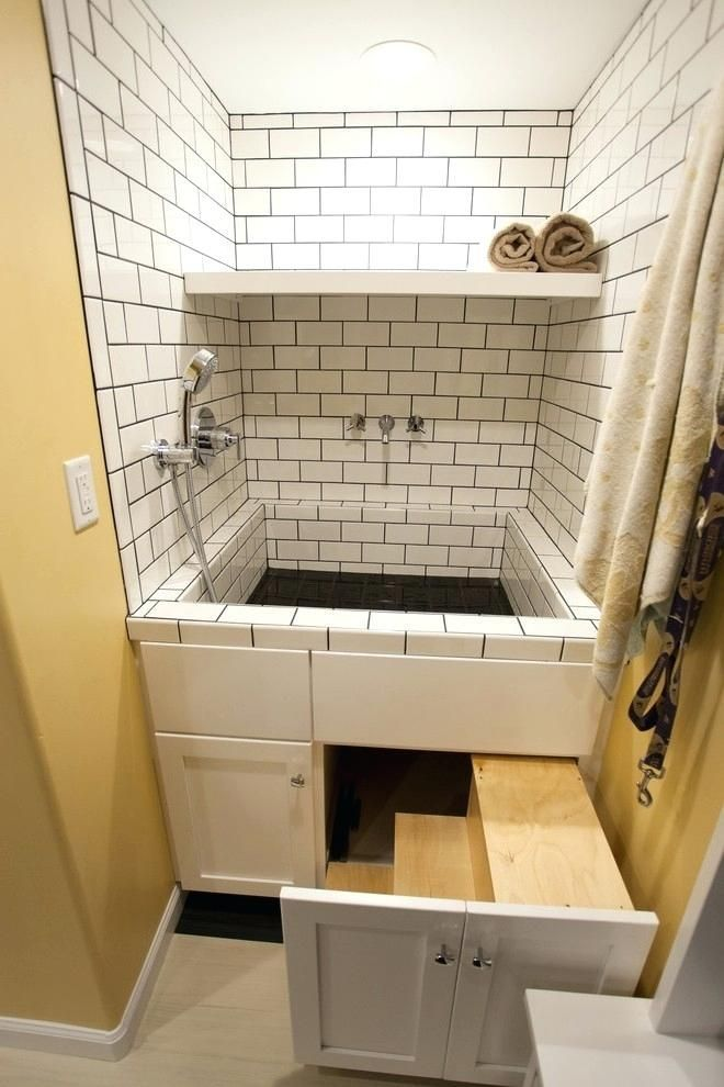Dog Wash Station In Laundry Room Mud Room Transitional Area Stairs Hide Away In Drawers Contemporary Laundry Room Diy Dog Washing Station Laundry Room Design