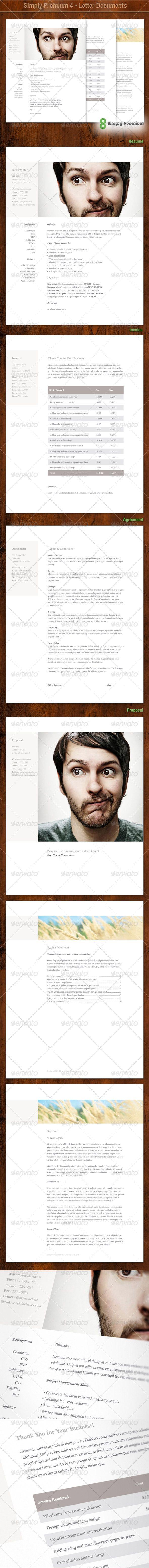 Simply Premium 4 Resume Letterhead Invoice Letterhead