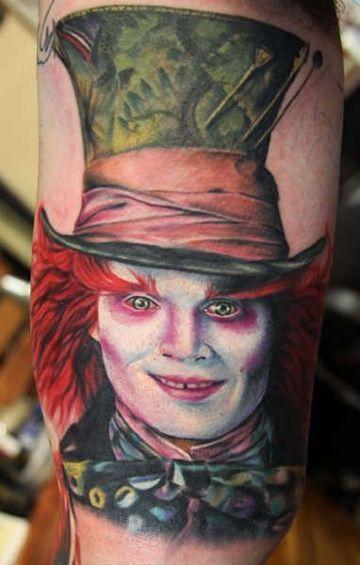 tatuajes del sombrerero loco a color