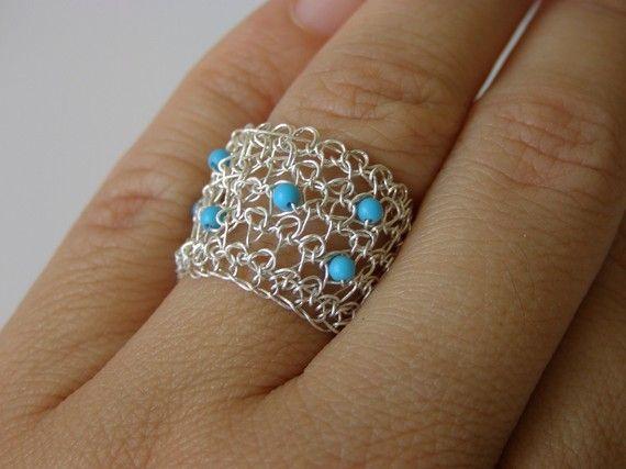 Ganchillo anillo  anillo de plata fina con perlas turquesa