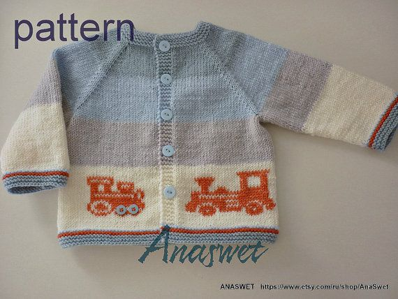 """Baby cardigan in blue and white with application.This cardigan has top-down raglan construction and is worked in one piece.Hand embroidery..Knitting is soft and pleasant to the touch. Size: To fit a boy aged 6-12 months Actual measurements chest length - 29cm/11.5"""" width - 27 cm/10.6 Materials: Baby Sport sport weight, light weight, 4 ply, 14 wpi Wool 25%, acrylic 75%, 1 ball =100 gr - 280 m. Colour A slate-blue -25 gr Colour B blue -25 gr Colour C grey -50 gr Colour D white..."""