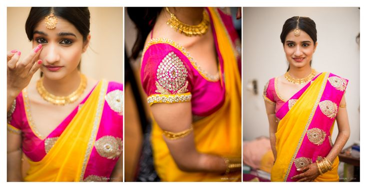South Indian bride. Temple jewelry. Jhumkis.Yellow and pink silk kanchipuram sarees.Braid with fresh flowers.Tamil bride. Telugu bride. Kannada bride. Hindu bride. Malayalee bride.Kerala bride.South Indian wedding.