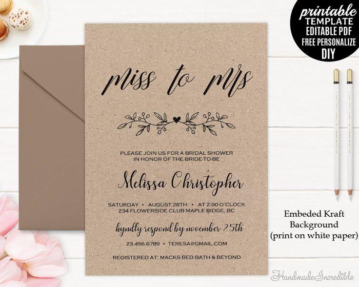 167 best Bridal Shower Invitation images on Pinterest Invitation - bridal shower invites templates