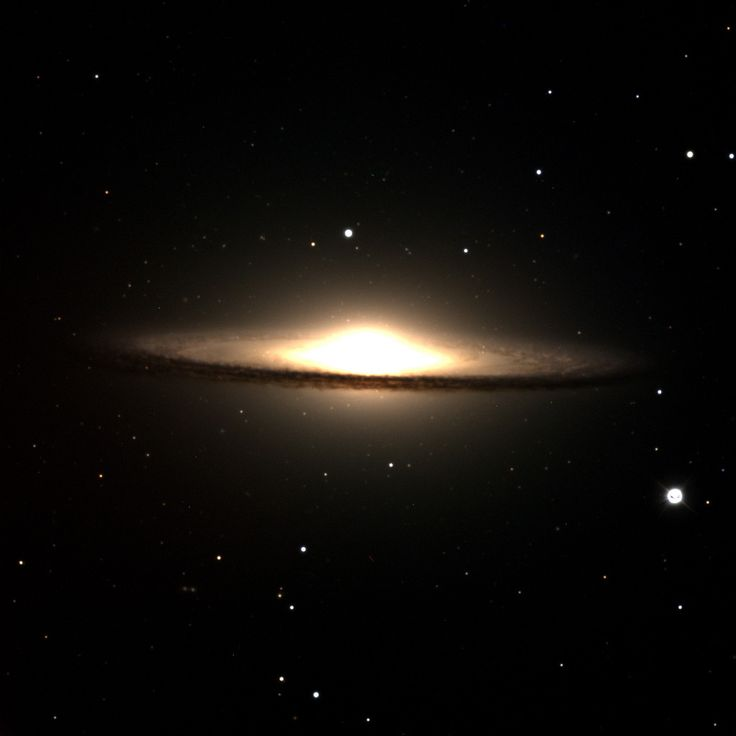 One of the first images taken by the Discovery Channel Telescope was of the Sombrero Galaxy, M104. The image was obtained April-May 2012. - The Sombrero Galaxy, also called M104 or NGC 4594, is about 28 million light-years from our planet in the constellation Virgo. -  Credit:  Lowell Observatory