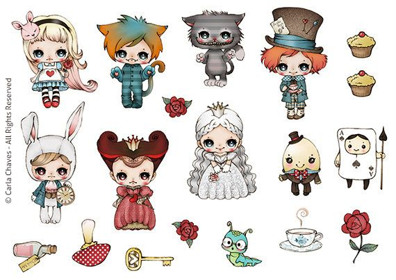 Alice Stickers set by ribonitachocolat on Etsy