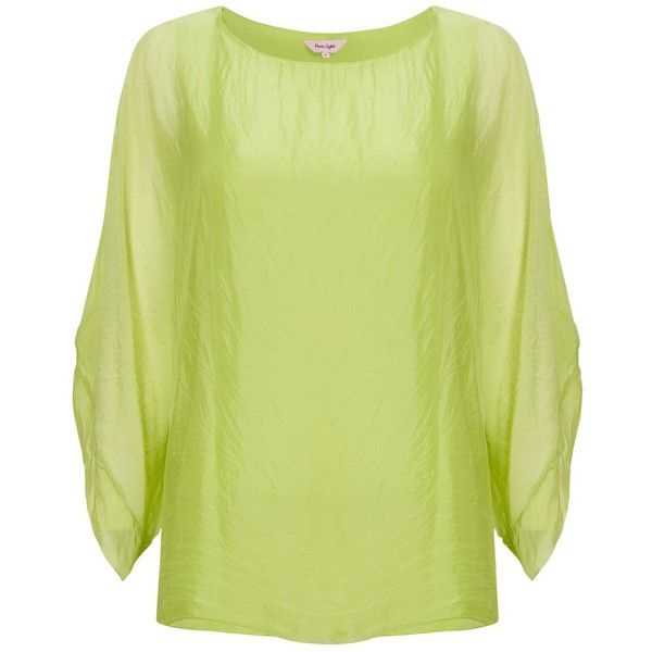 Phase Eight Zinnia Silk Blouse , Lime ($55) ❤ liked on Polyvore featuring tops, blouses, phase eight, lime, batwing sleeve tops, sheer sleeve blouse, yellow silk blouse, lime green blouse and lime green top