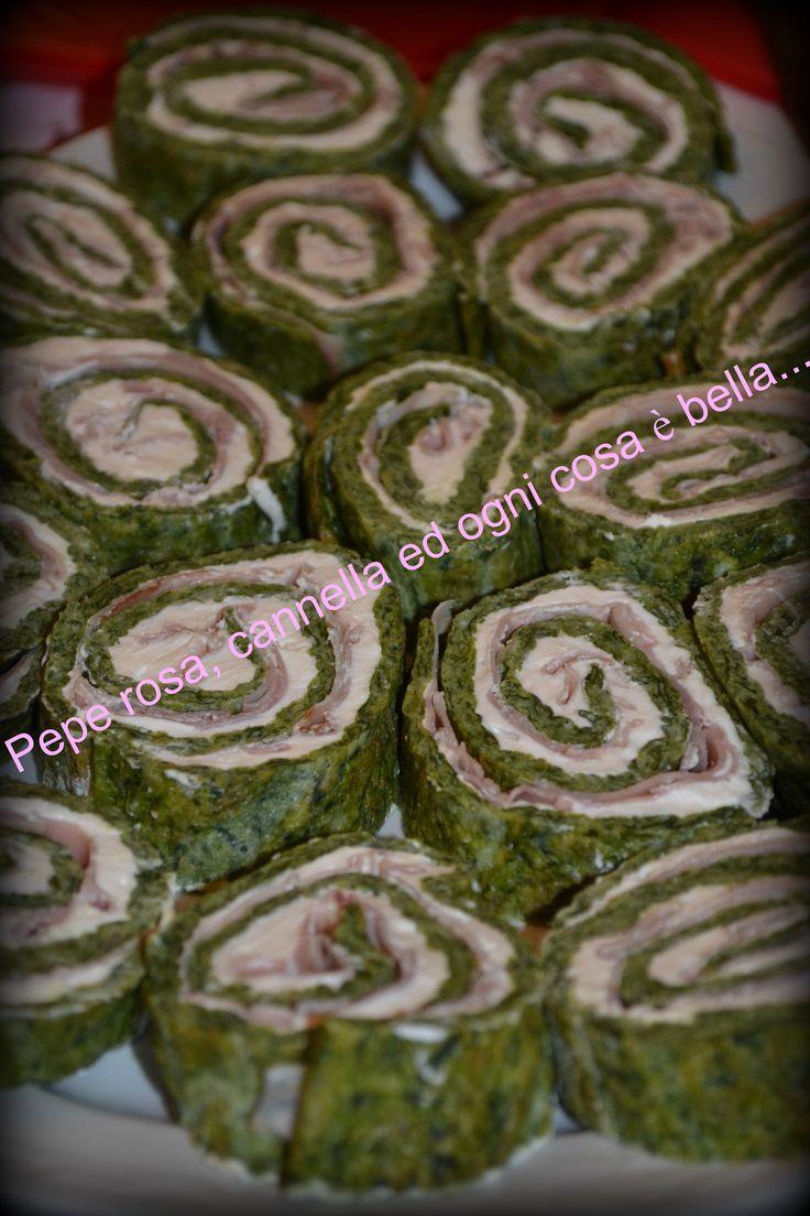 Rotoli di frittata spinaci e cotto