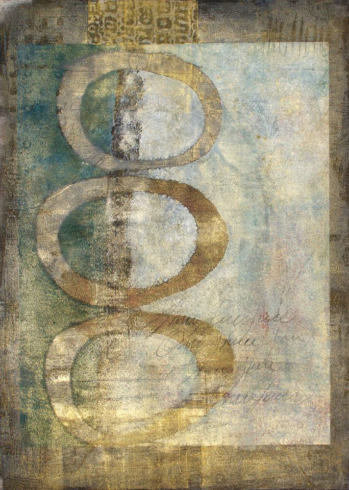 gilded austerity ~ monotype printed over a collagraph print ~ by anne moore