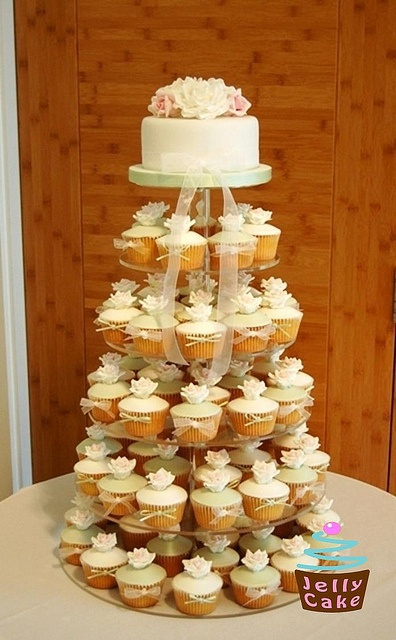 Rose Wedding Cupcake Tower by www.jellycake.co.uk, via Flickr