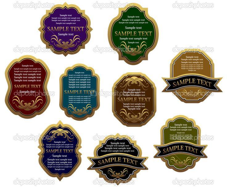 set vintage etiketten voor ontwerp voedsel en dranken, dergelijke logo. JPEG-versie ook beschikbaar in galerij - Stockillustratie: 19252755
