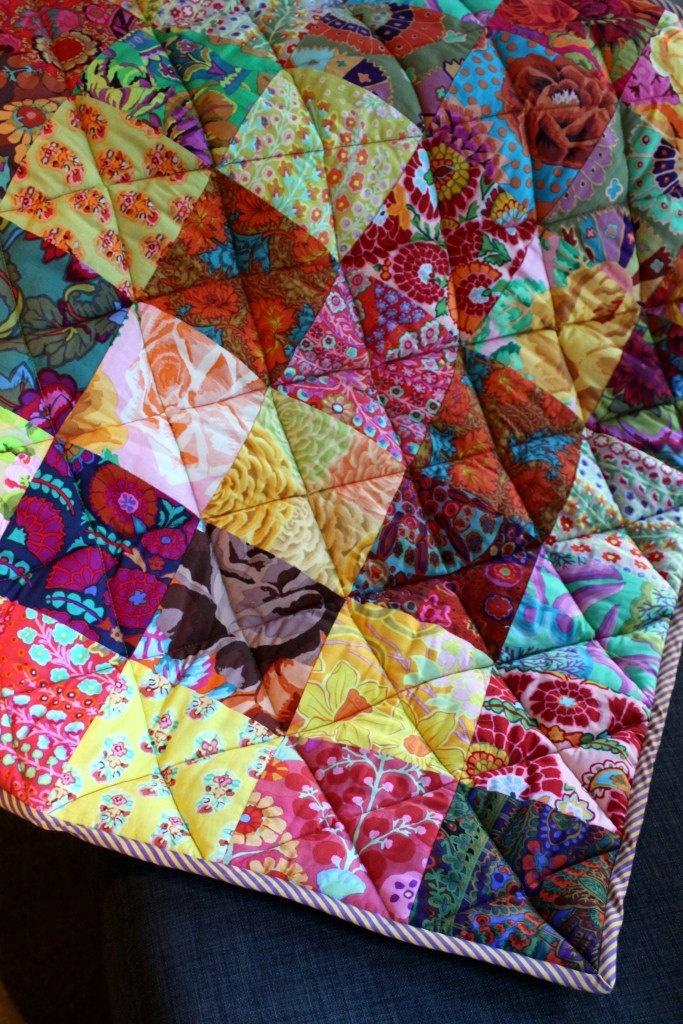 patchwork baby quilt made from Kaffe Fassett fabrics ...