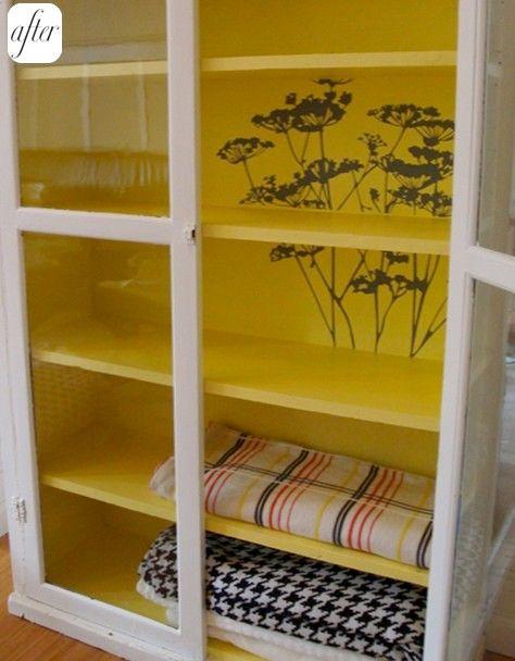 Stencil Inside Cabinet. Bright Yellow Inside With White Outside Is Crisp! Paint  Inside CabinetsInside Kitchen ...