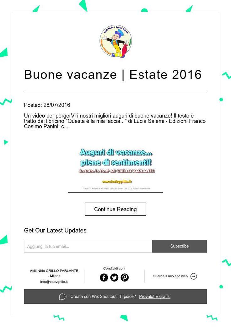 Buone vacanze | Estate 2016