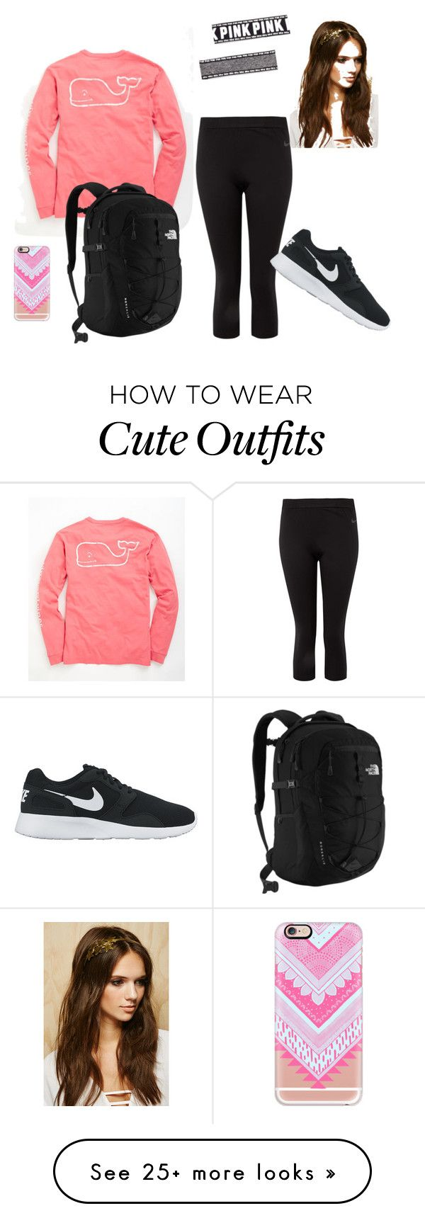 """Cute athletic outfit"" by kvandop on Polyvore featuring Vineyard Vines, NIKE, The North Face, Casetify and Forever 21"