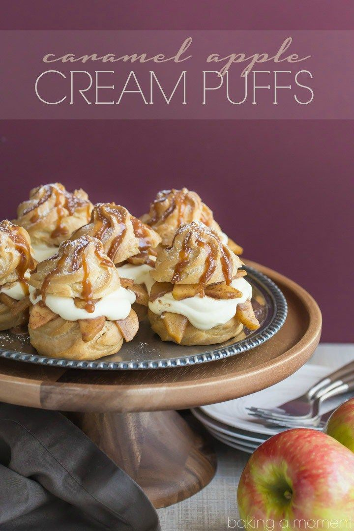 Caramel Apple Cream Puffs- Omg SO good! Loved the way the fluffy cream contrasts…  food desserts apple