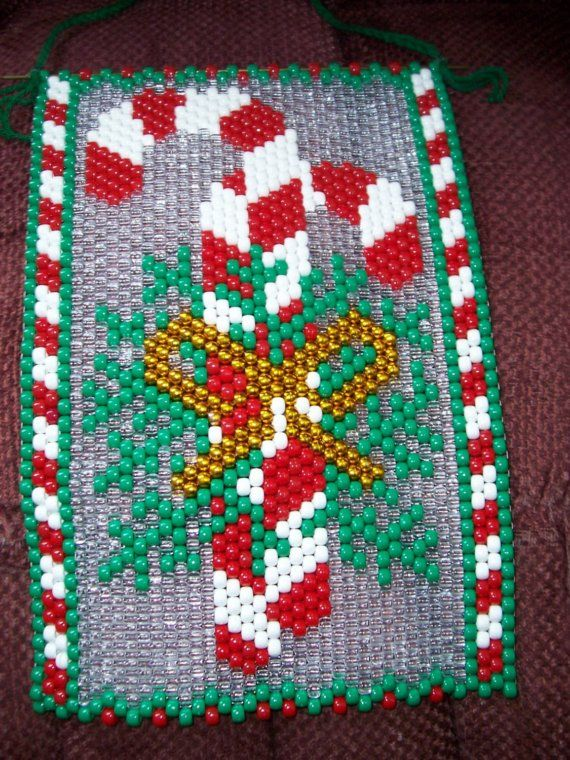 Candy Canes Beaded Banner by CraftingAddiction on Etsy, $18.99